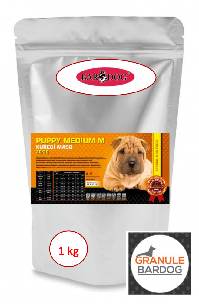 Bardog Super prémiové granule Puppy Medium M 30/20 1 kg