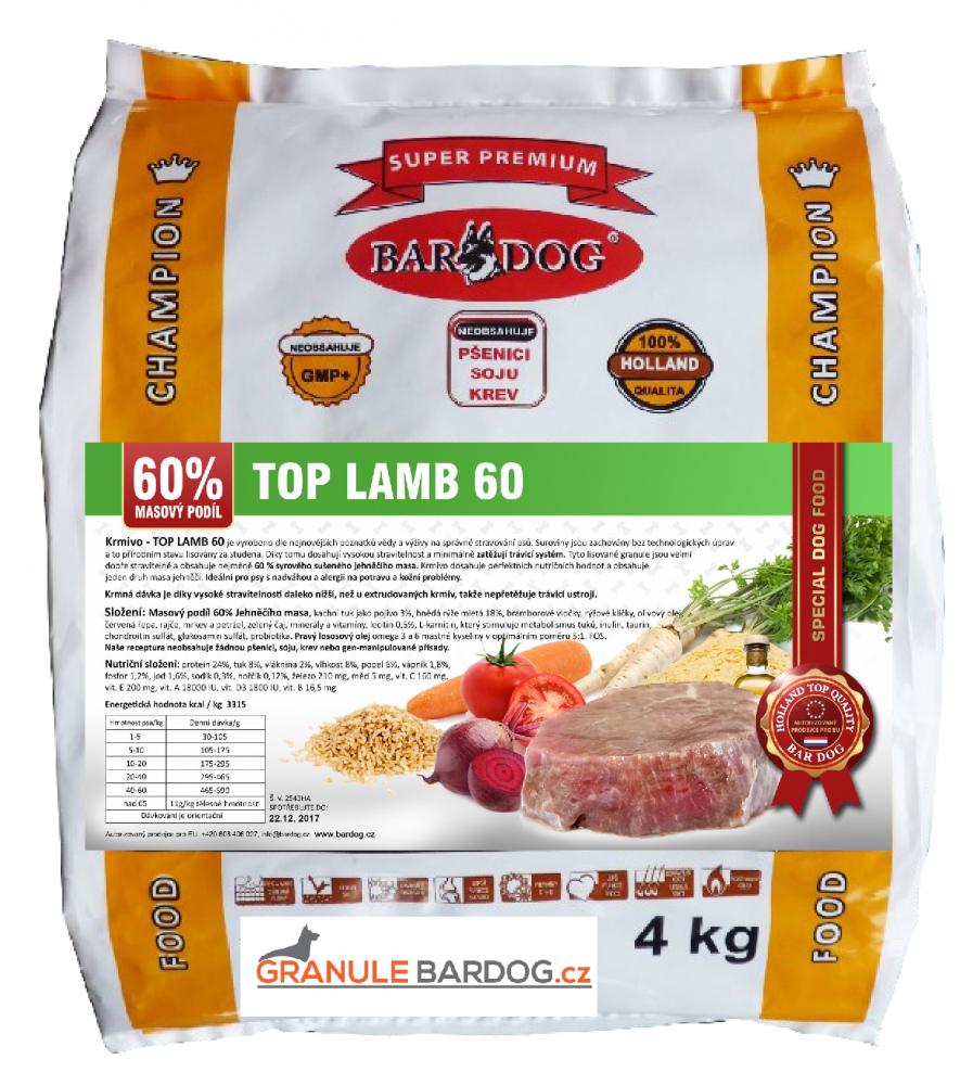 Bardog Lisované granule za studena Top Lamb 60 - 4 kg