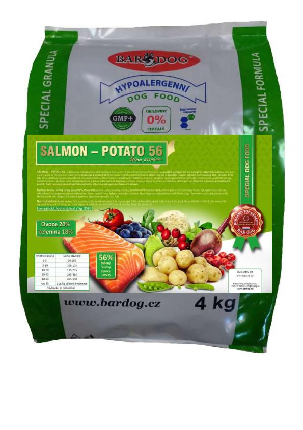 Bardog Lisované granule za studena Salmon Potato 56 4 kg