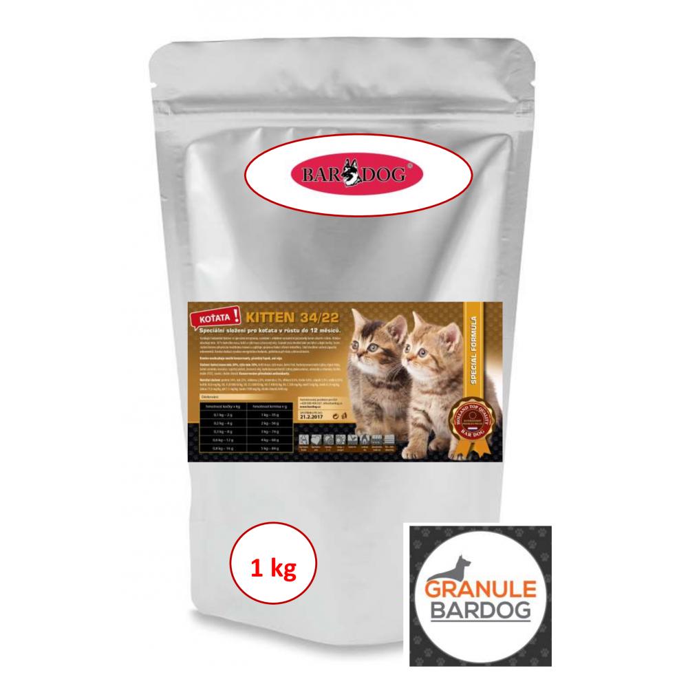 Bardog Super premiové krmivo pro kočky Kitten 34/22 1 kg