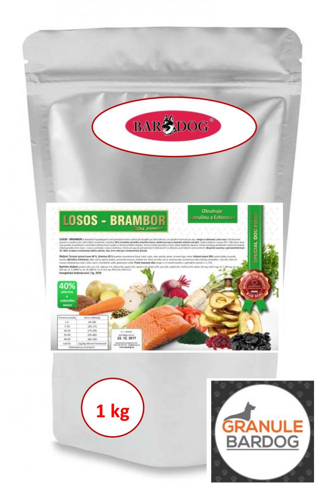 Bardog Lisované granule za studena losos a brambor 12 kg 1 kg