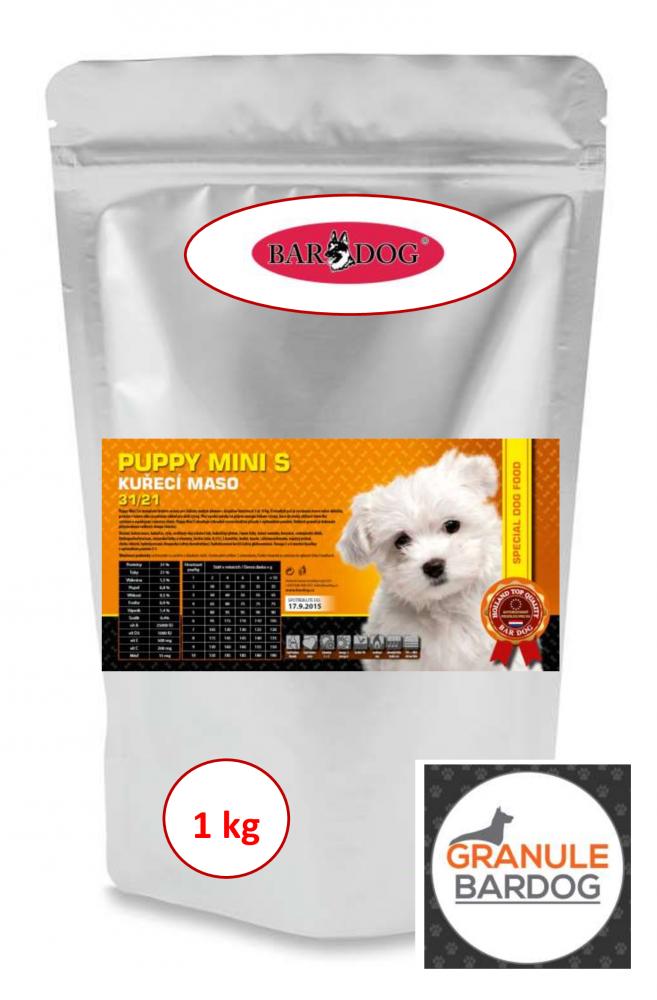 Bardog Super premiové granule Puppy Mini S 31/21 1 kg