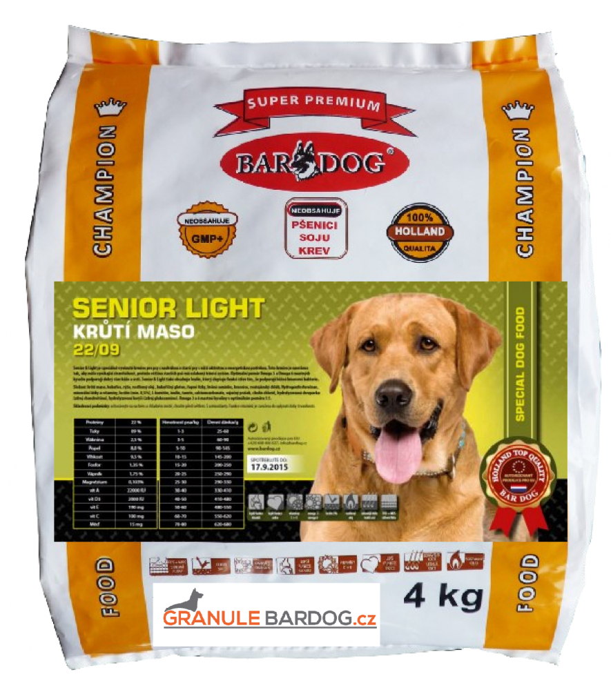 Bardog Super prémiové granule Senior light 22/09 - 4 kg