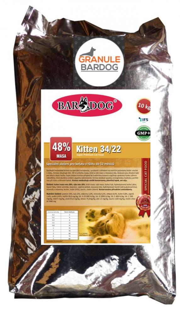 Bardog Super premiové krmivo pro kočky Kitten 34/22 10 kg