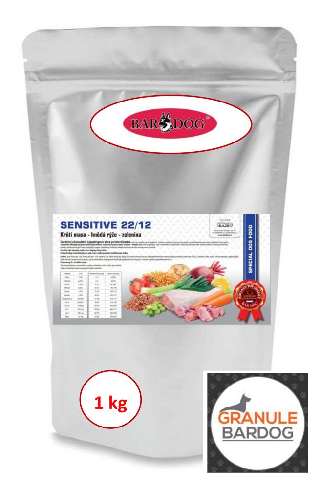 Bardog Hypoalergenní granule Sensitive 22/12 - 1 kg