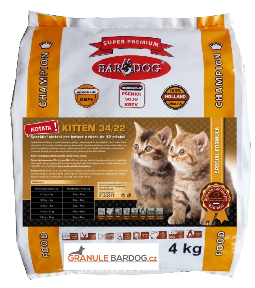 Bardog Super prémiové krmivo pro kočky Kitten 34/22 - 4 kg