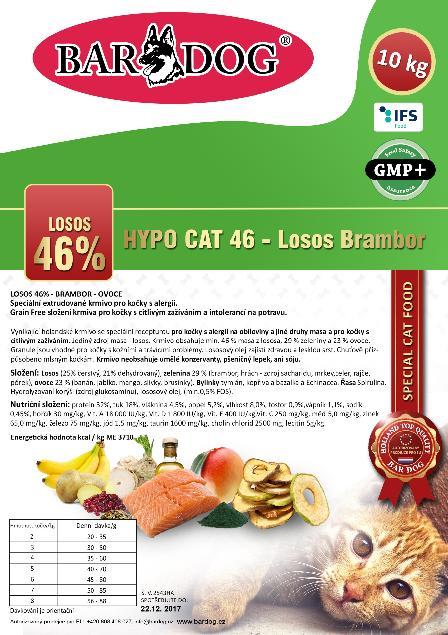 Bardog Hypoalergenní granule pro kočky Hypo Cat 46 - Losos Brambor 32/18 - 10 kg