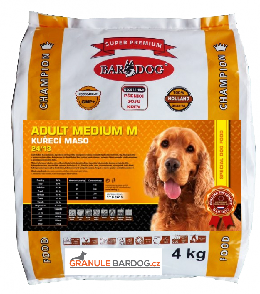 Bardog Super prémiové granule Adult Medium M 24/13 - 4 kg