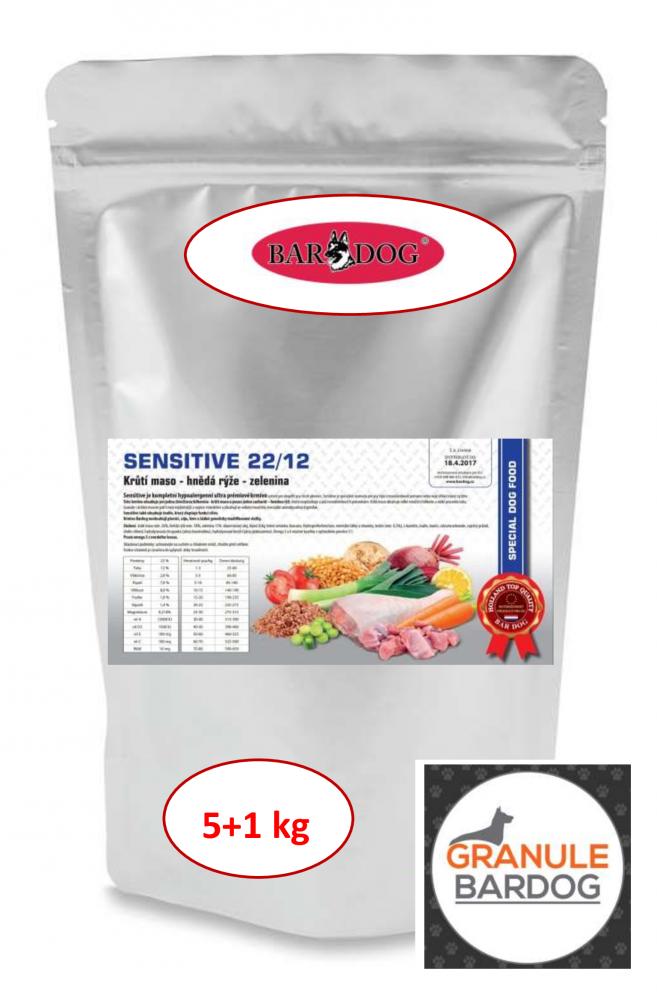 Bardog Hypoalergenní granule Sensitive 22/12 - 5 + 1 kg