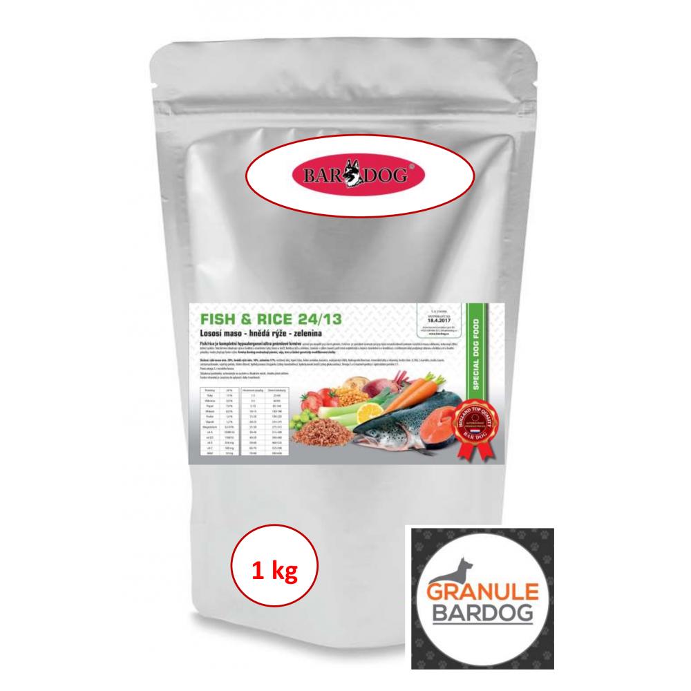 Bardog Hypoalergenní granule Fish rice 24/13 1 kg