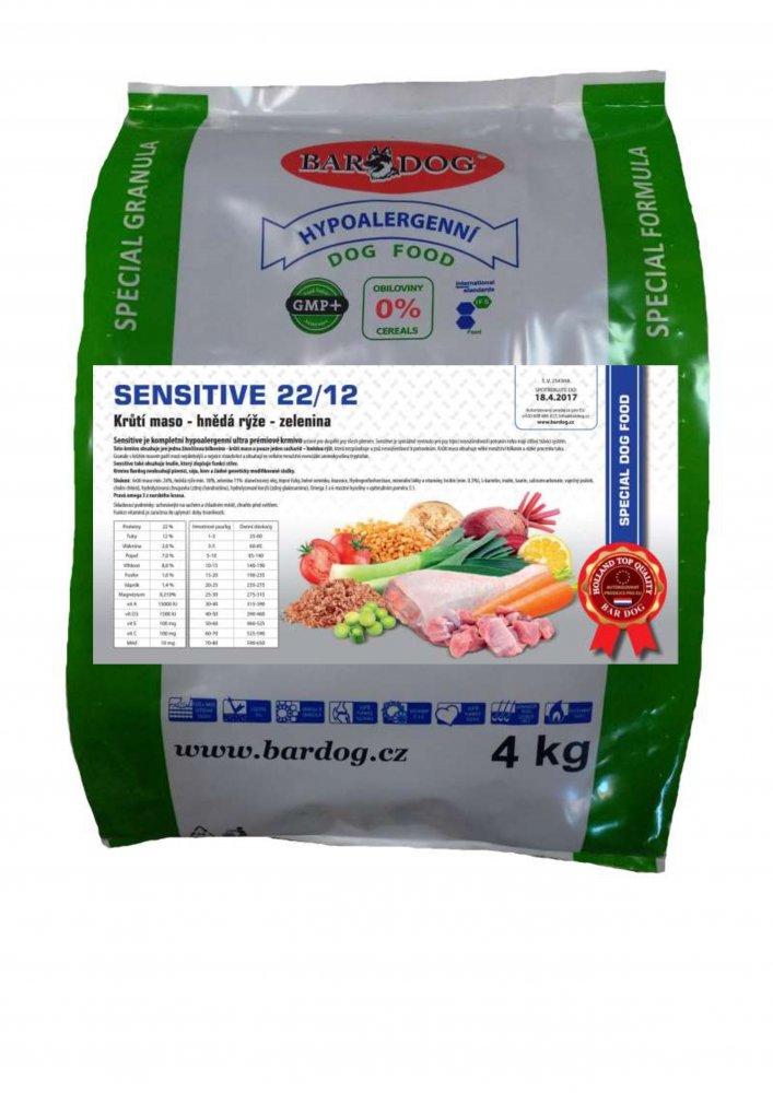 Bardog Hypoalergenní granule Sensitive 22/12 4 kg
