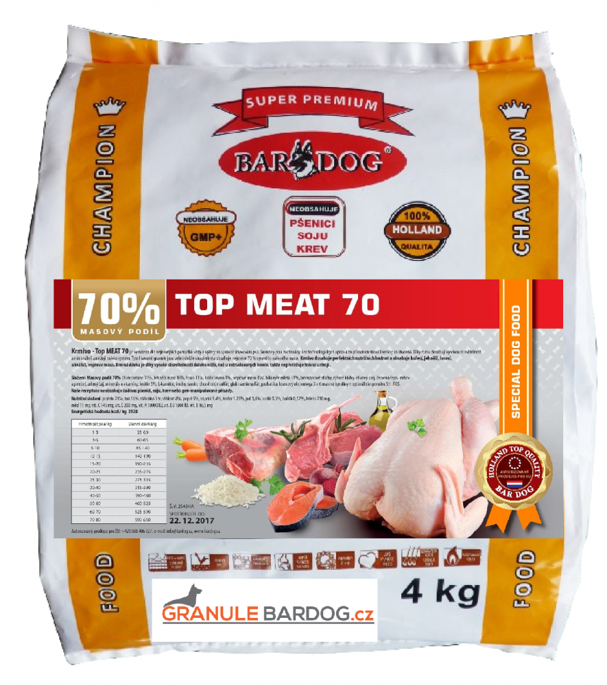 Bardog Lisované granule za studena Top Meat 70 - 4 kg