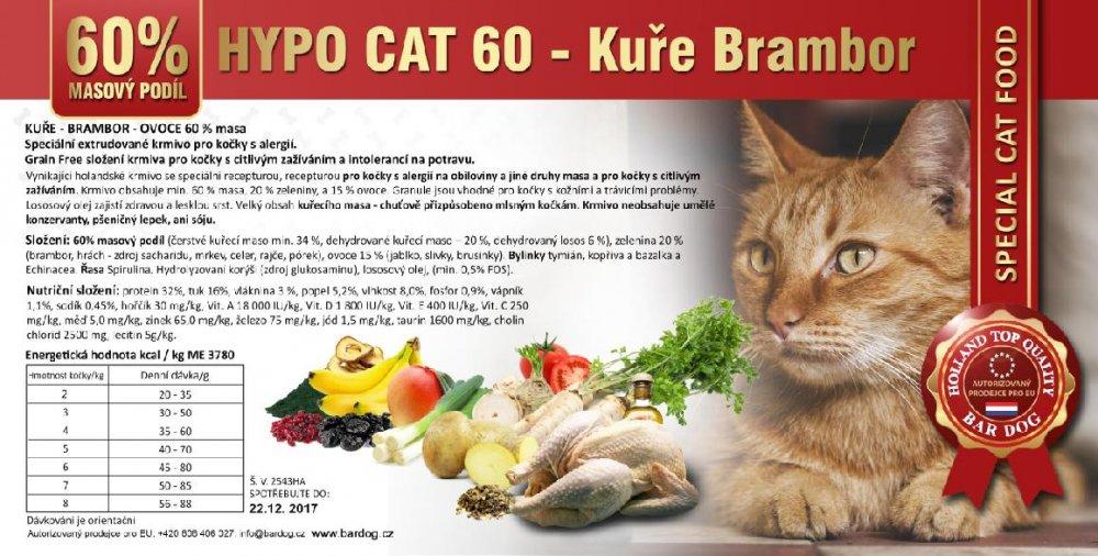 Bardog Hypoalergenní granule pro kočky Hypo Cat 60 - Kuře Brambor 32/18 - 1 kg