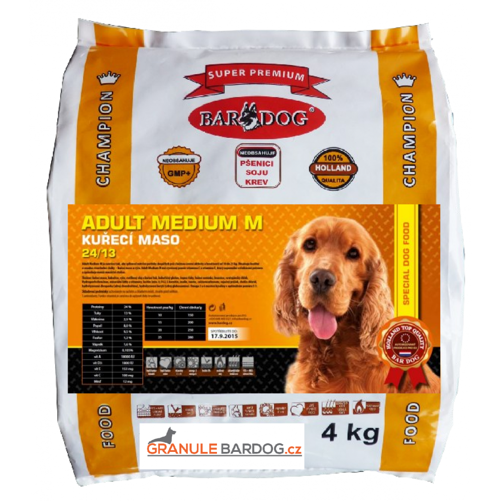 Bardog Super prémiové granule Adult Medium M 24/13 4 kg