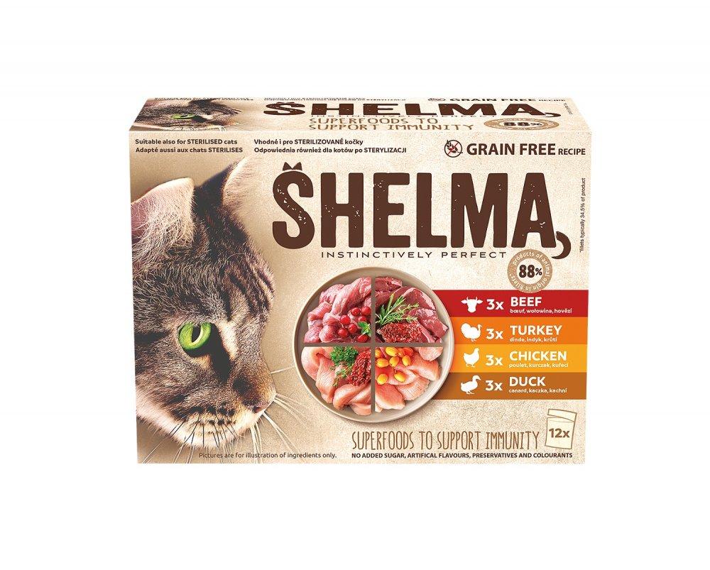 SHELMA Cat kuracie, hovädzie, losos a treska, vrecko 85 g (12 ks)