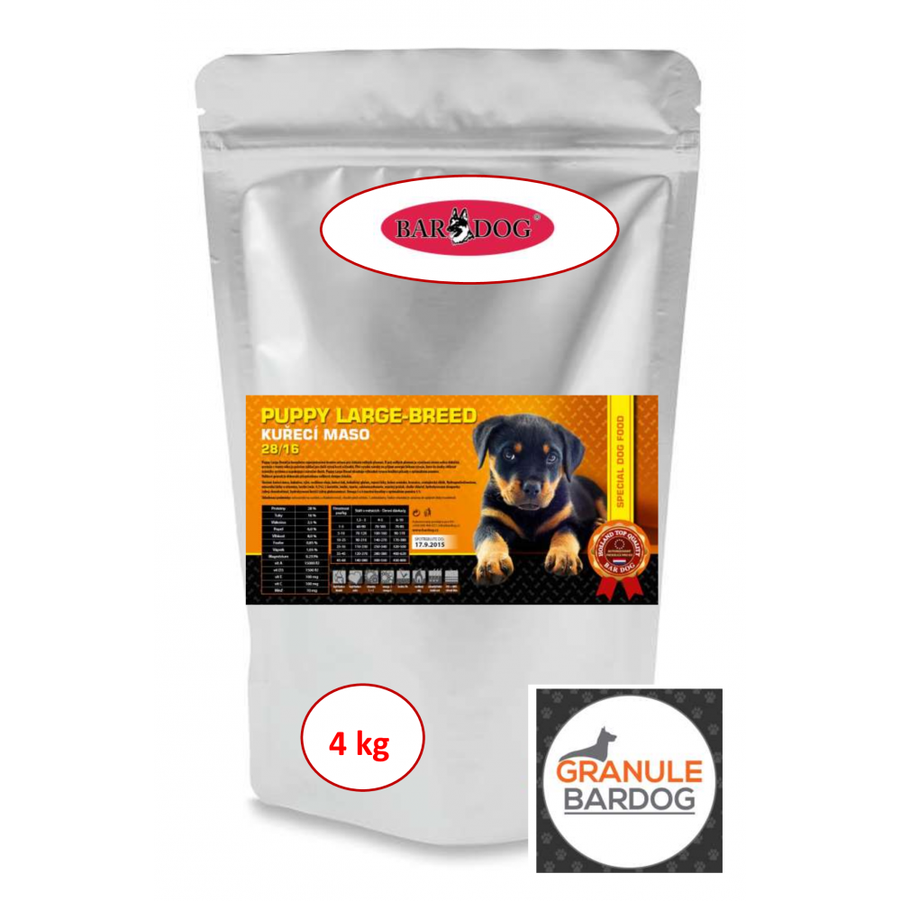 Bardog Super premiové granule Puppy Large Breed 28/16 4 kg