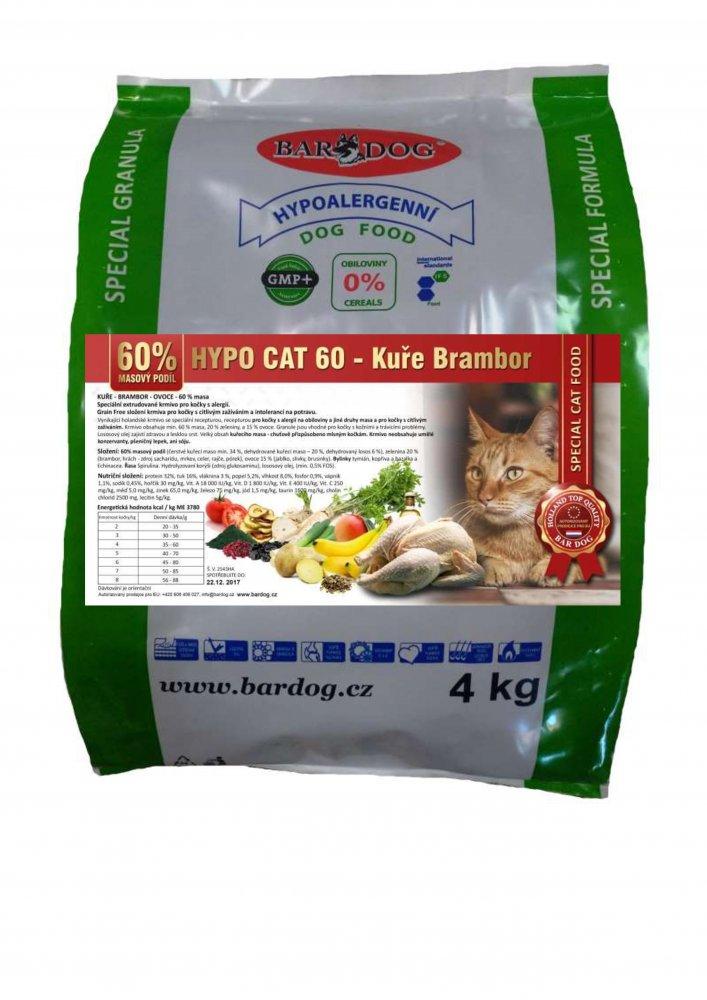 Bardog Hypoalergenní granule pro kočky Hypo Cat 60 - Kuře Brambor 32/18 4 kg