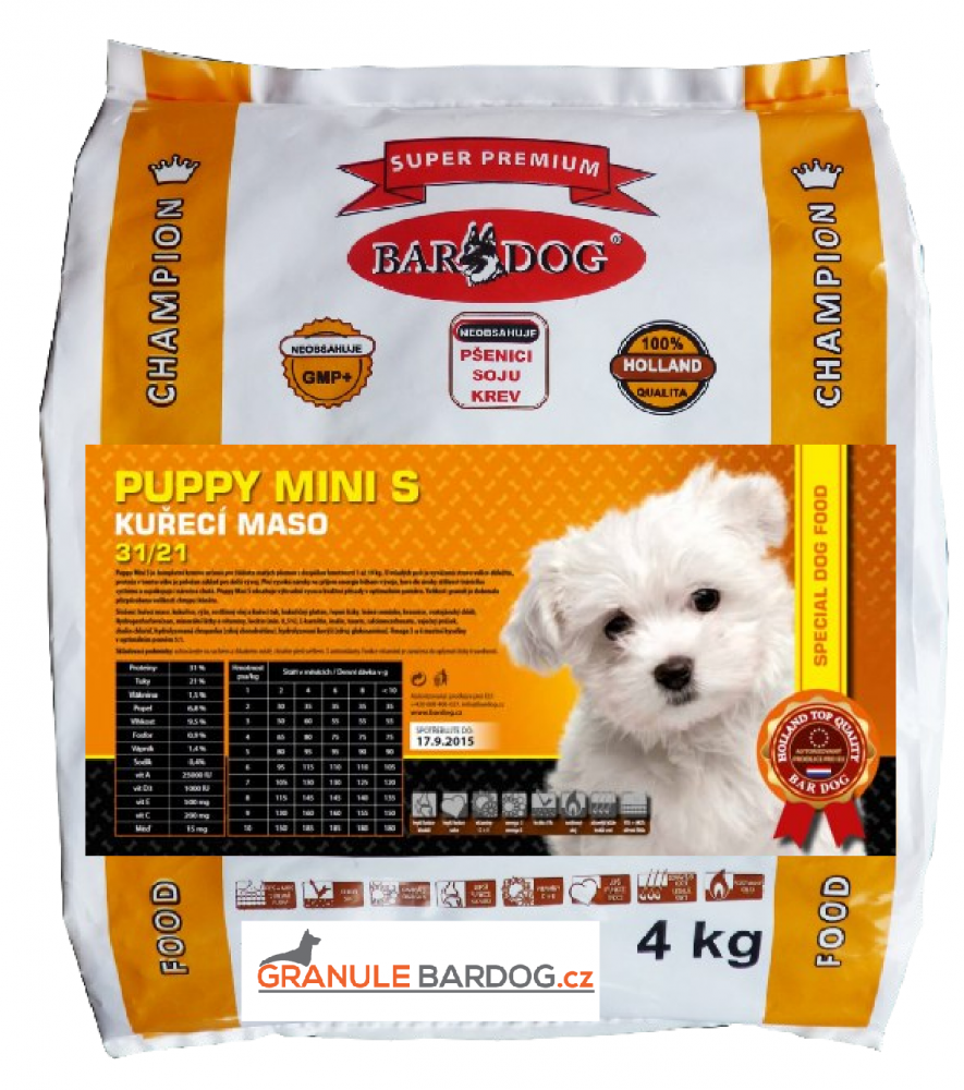 Bardog Super prémiové granule Puppy Mini S 31/21 - 4 kg