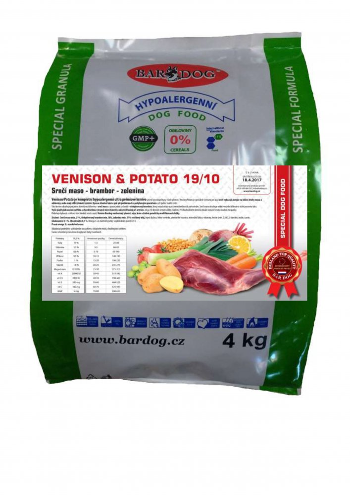 Bardog Hypoalergenní granule Venison Potato 19/10 4 kg