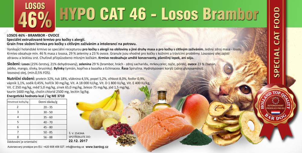 Bardog Hypoalergenní granule pro kočky Hypo Cat 46 - Losos Brambor 32/18 - 1 kg