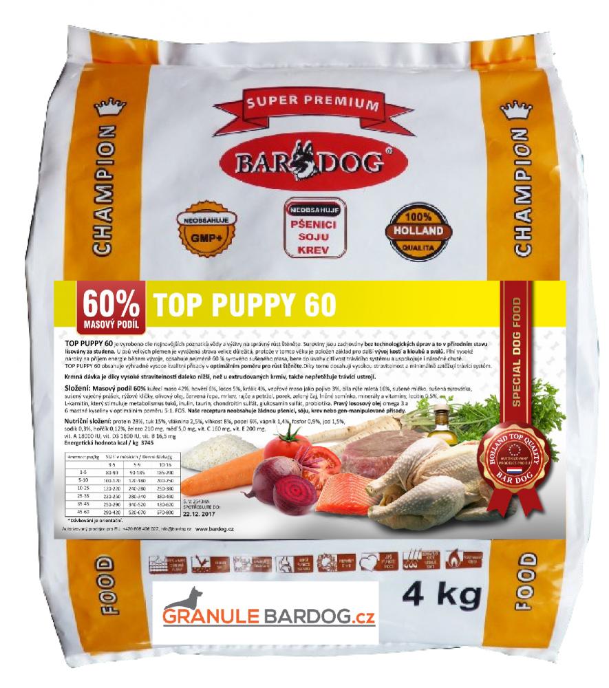 Bardog lisované granule Top Puppy 60 4 kg