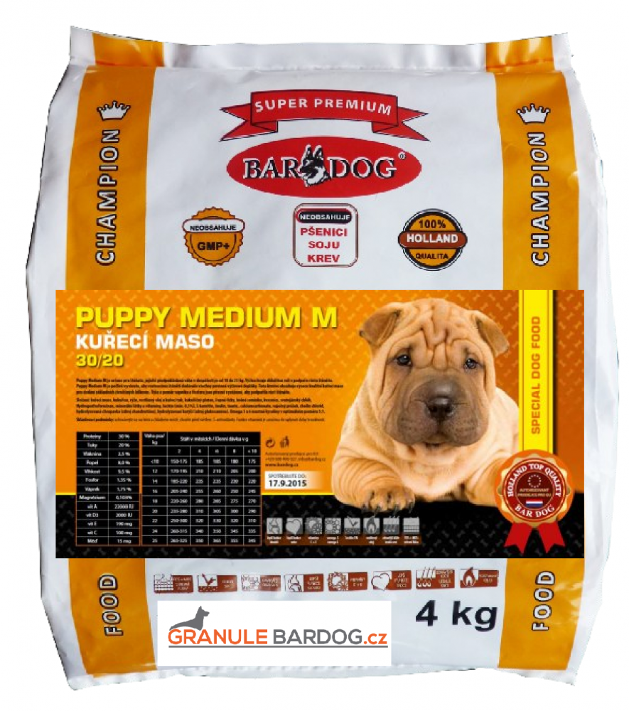 Bardog Super prémiové granule Puppy Medium M 30/20 4 kg