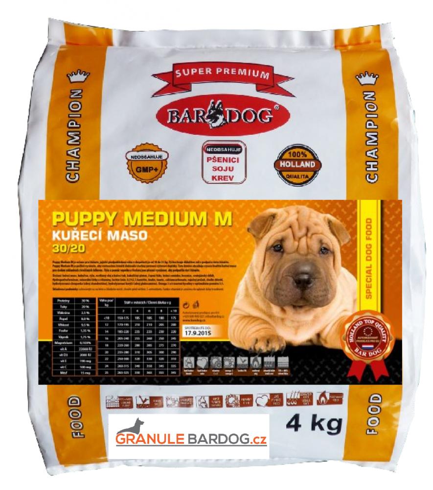 Bardog Super prémiové granule Puppy Medium M 30/20 - 4 kg