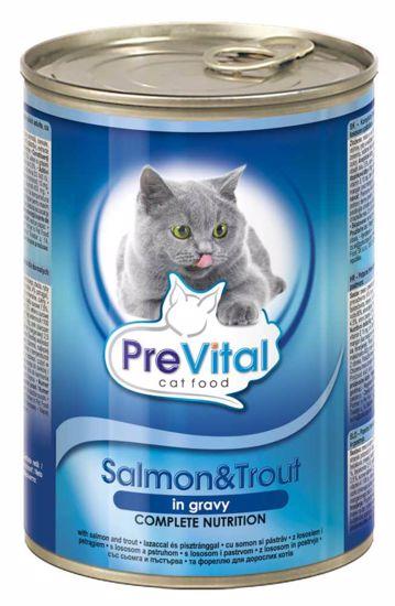 PreVital kousky kočka losos+pstruh v omáčce 415g