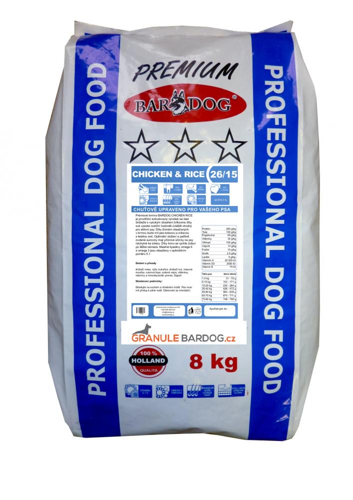 Bardog Prémiové granule Chicken Rice 26/15 - 8 kg