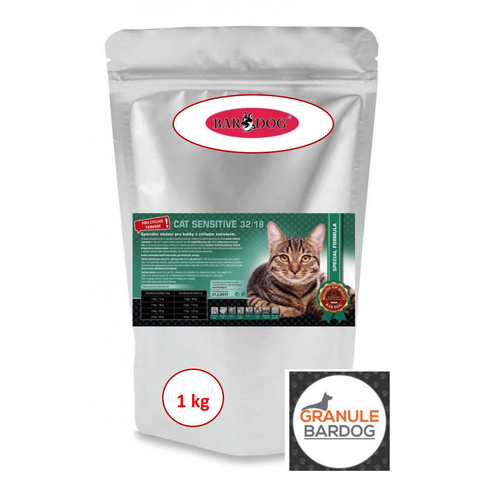 Bardog Krmivo pro kočky Cat Sensitive 32/18 1 kg