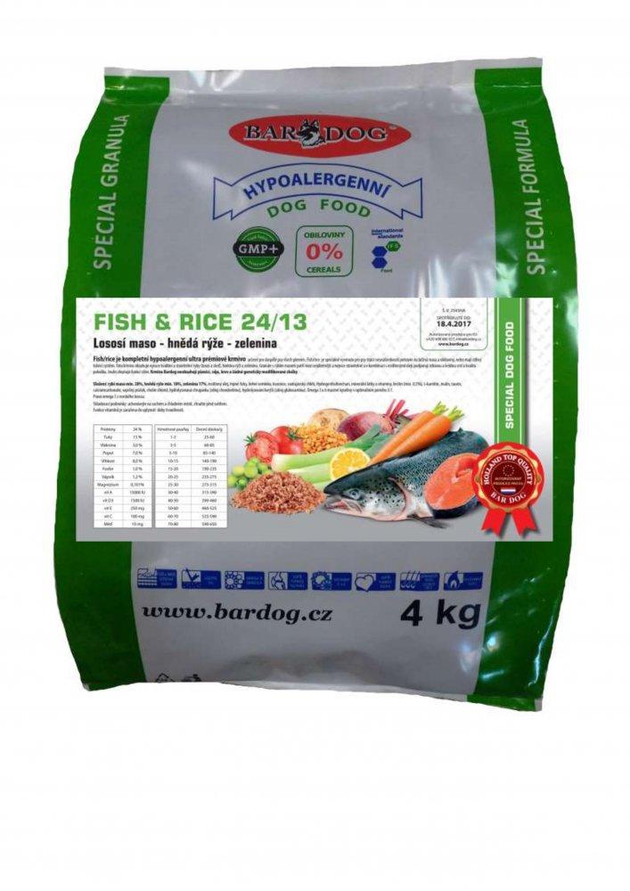 Bardog Hypoalergenní granule Fish rice 24/13 4 kg