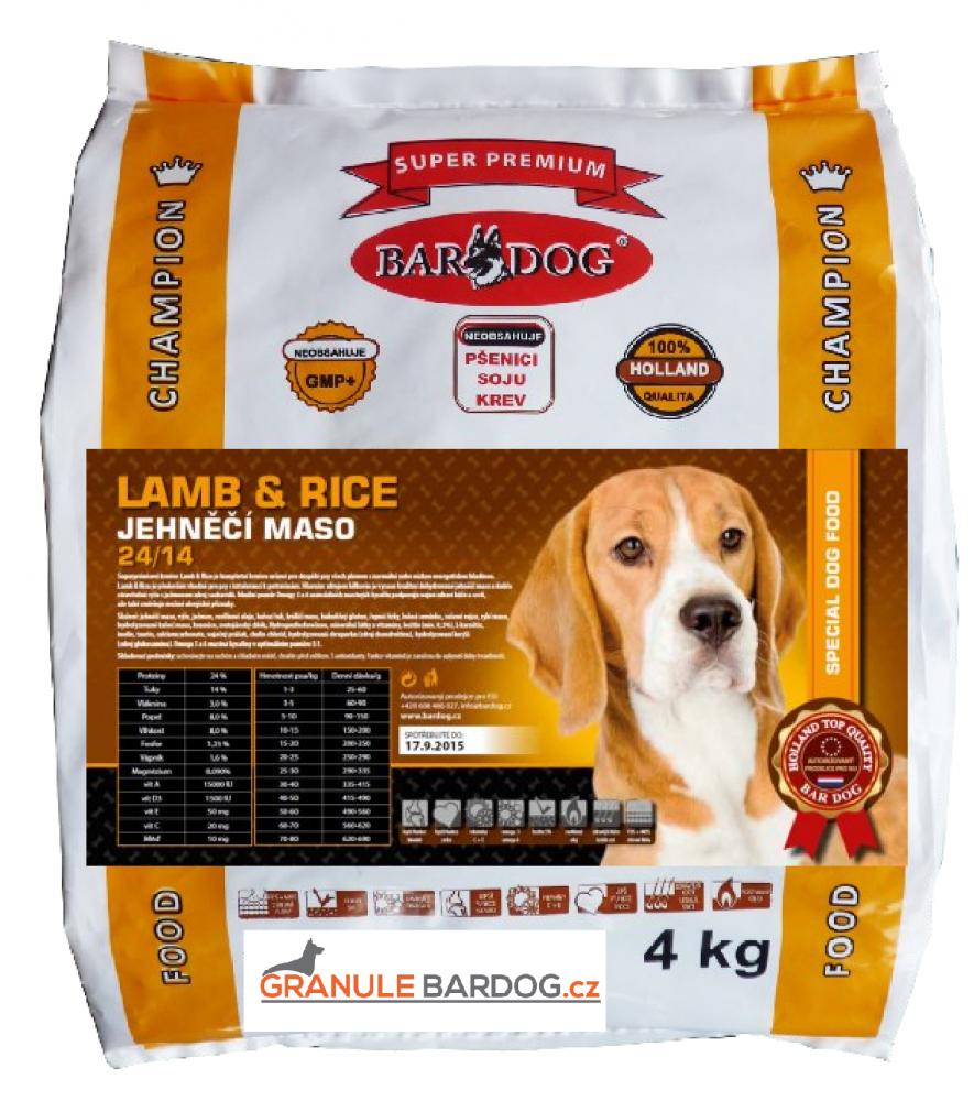 Bardog Super prémiové granule Lamb rice 24/14 4 kg