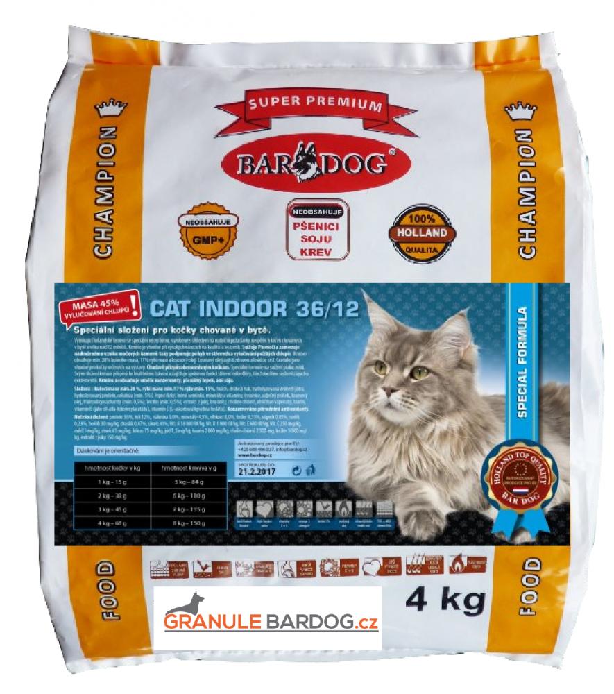 Bardog Super prémiové krmivo pro kočky Cat Indoor 36/12 - 4 kg