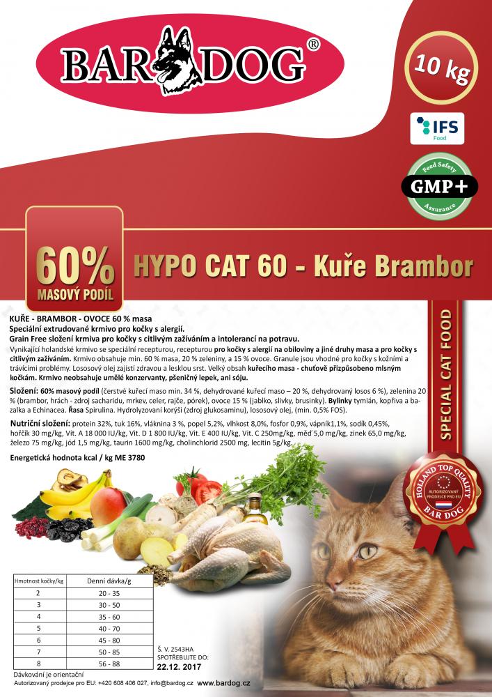 Bardog Hypoalergenní granule pro kočky Hypo Cat 60 - Kuře Brambor 32/18 - 10 kg