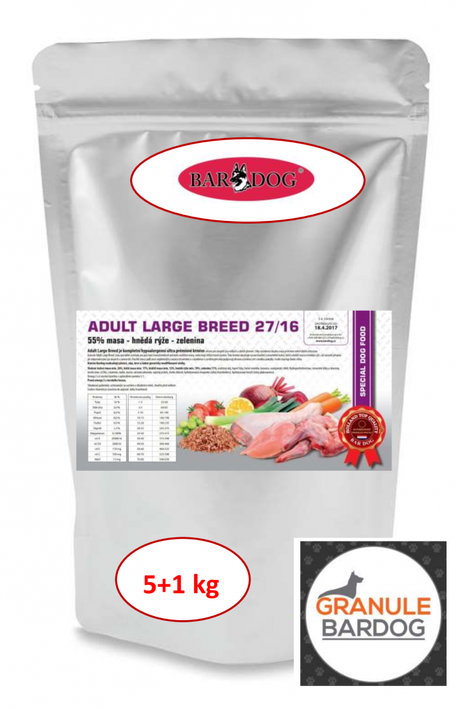 Bardog Hypoalergenní granule Adult Large Breed 27/16 - 5 + 1 kg